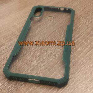 Чехол накладка для Xiaomi Redmi Note 7 прозрачный с зелёной окантовкой